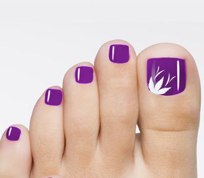 Purple Toenail Art Flower Design Marys Nails Spa