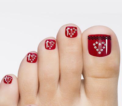 Rhinestones Red Toenail Art Marys Nails Spa
